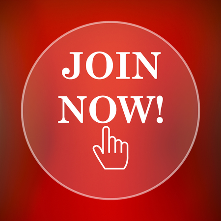 join now: Join now icon. Internet button on red background.