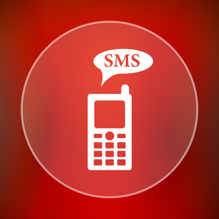 gsm: SMS icon. Internet button on red background.