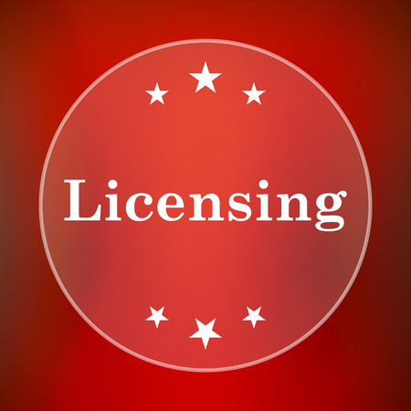 property rights: Licensing icon. Internet button on red background.
