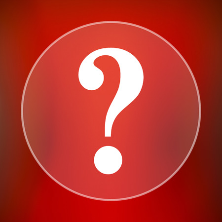 inquiry: Question mark icon. Internet button on red background. Stock Photo