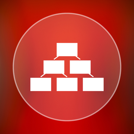 layers levels: Organizational chart icon. Internet button on red background. Stock Photo