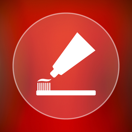 toothbrushing: Tooth paste and brush icon. Internet button on red background.