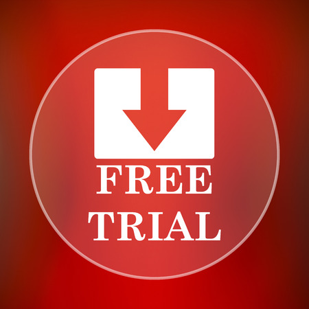 try: Free trial icon. Internet button on red background.