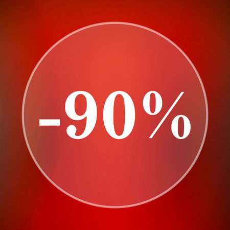 90: 90 percent discount icon. Internet button on red background.
