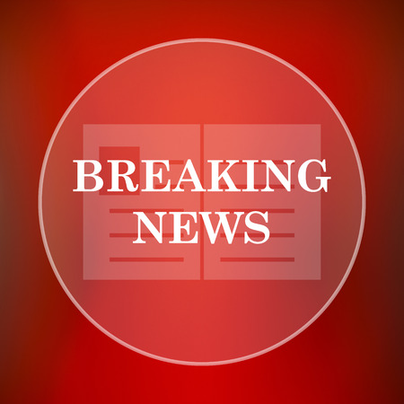 newsflash: Breaking news icon. Internet button on red background. Stock Photo