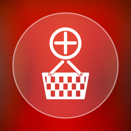 add to basket: Add to basket icon. Internet button on red background. Stock Photo