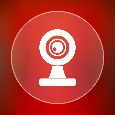 capturing: Webcam icon. Internet button on red background. Stock Photo