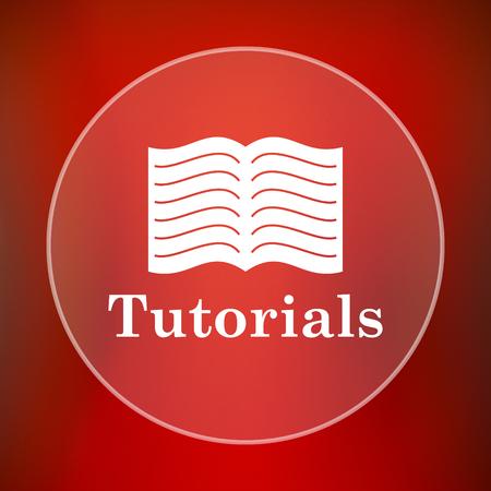 tutorials: Tutorials icon. Internet button on red background. Stock Photo