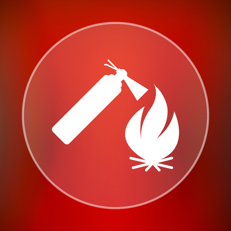 firealarm: Fire icon. Internet button on red background.