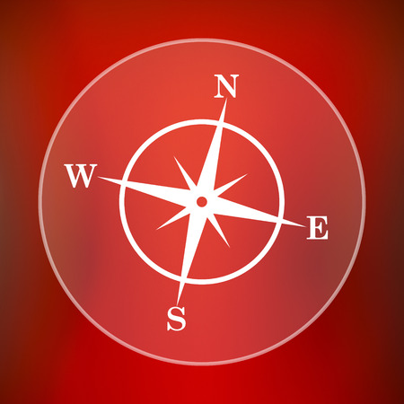geodesy: Compass icon. Internet button on red background. Stock Photo