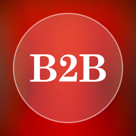 commerce communication: B2B icon. Internet button on red background.