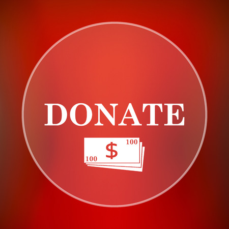 aiding: Donate icon. Internet button on red background. Stock Photo