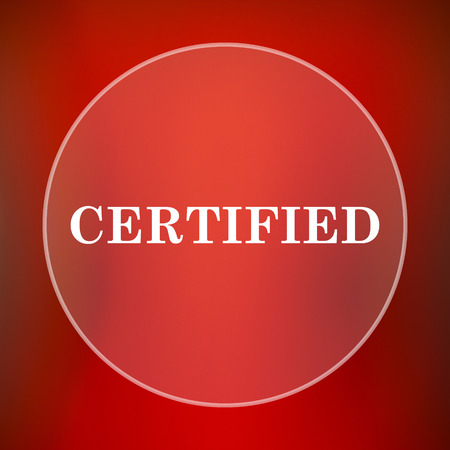 accredit: Certified icon. Internet button on red background. Stock Photo