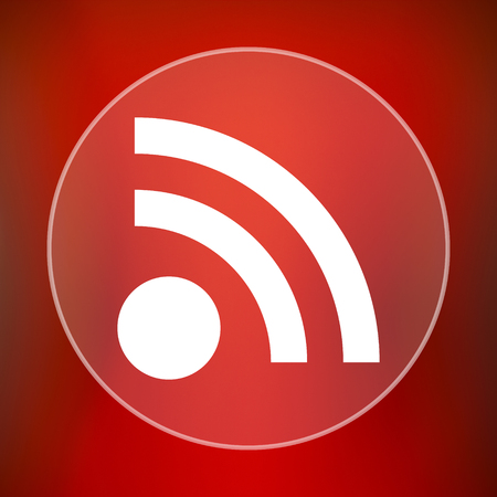 rss sign: Rss sign icon. Internet button on red background. Stock Photo