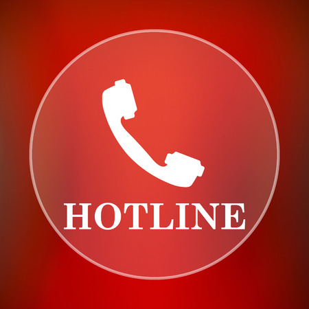 hotline: Hotline icon. Internet button on red background.