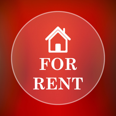 rent: For rent icon. Internet button on red background. Stock Photo