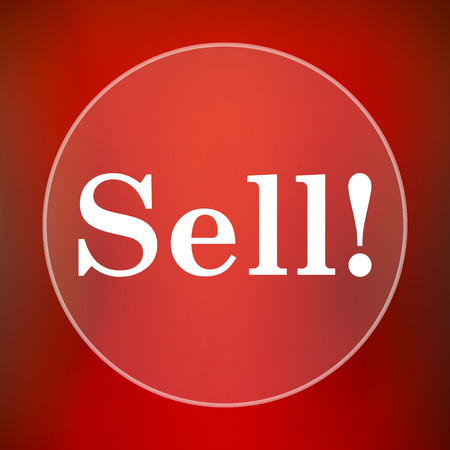 retailers: Sell icon. Internet button on red background.