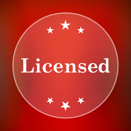 property rights: Licensed icon. Internet button on red background.