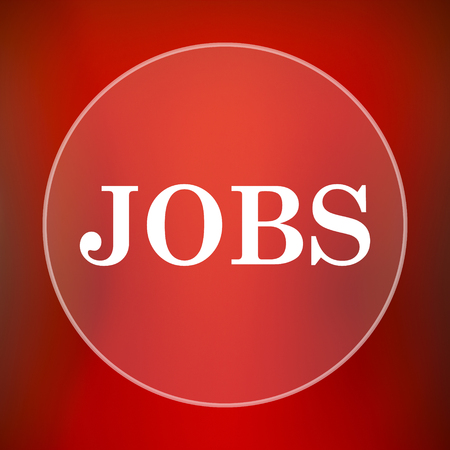 jobs: Jobs icon. Internet button on red background.