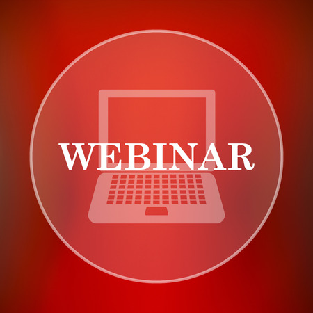 course development: Webinar icon. Internet button on red background. Stock Photo