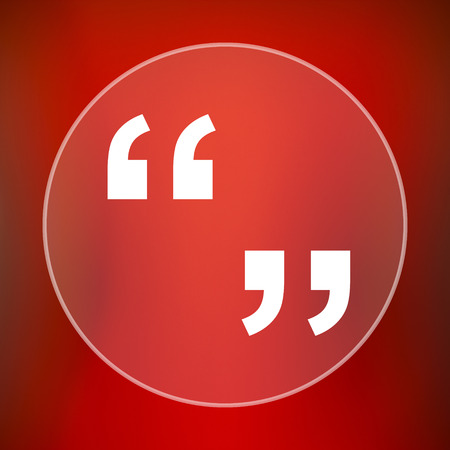 quotation marks: Quotation marks icon. Internet button on red background. Stock Photo