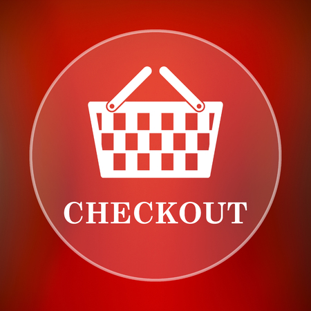 checkout: Checkout icon. Internet button on red background. Stock Photo