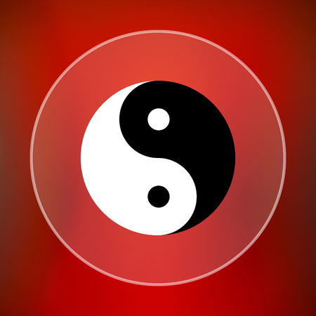 ying and yang: Ying yang icon. Internet button on red background.