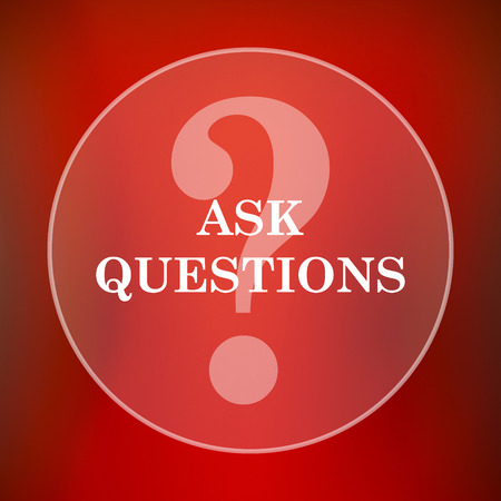 inquiry: Ask questions icon. Internet button on red background.