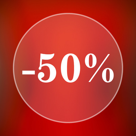rebate: 50 percent discount icon. Internet button on red background.