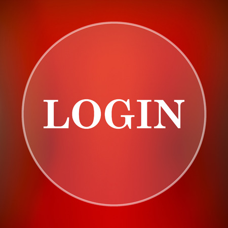 logging: Login icon. Internet button on red background.