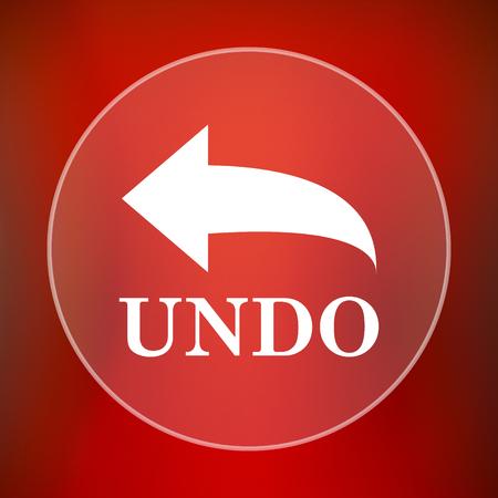 undo: Undo icon. Internet button on red background. Stock Photo