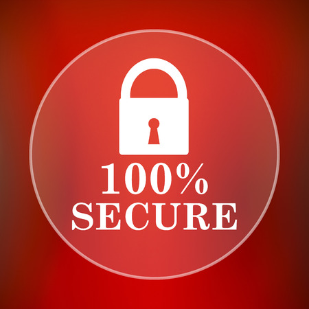 trusty: 100 percent secure icon. Internet button on red background.