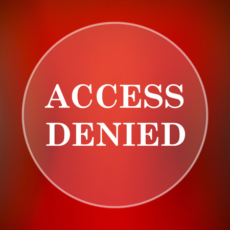 denied: Access denied icon. Internet button on red background. Stock Photo