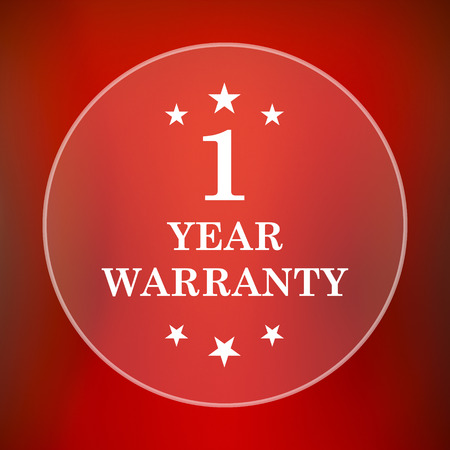 1 year warranty: 1 year warranty icon. Internet button on red background.