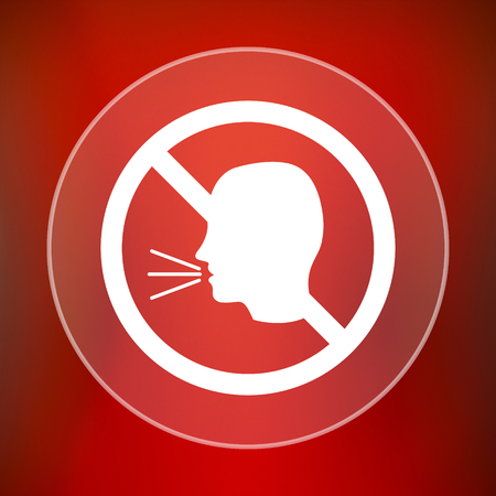no talking: No talking icon. Internet button on red background. Stock Photo