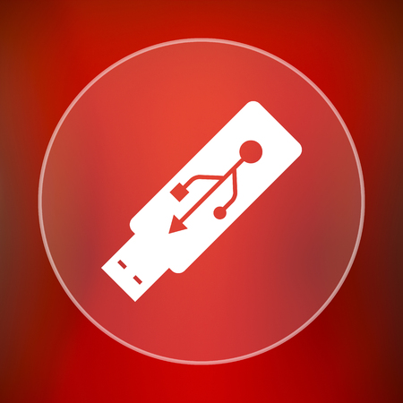 usb pendrive: Usb flash drive icon. Internet button on red background.