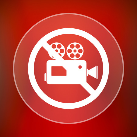 no cameras allowed: Forbidden video camera icon. Internet button on red background.