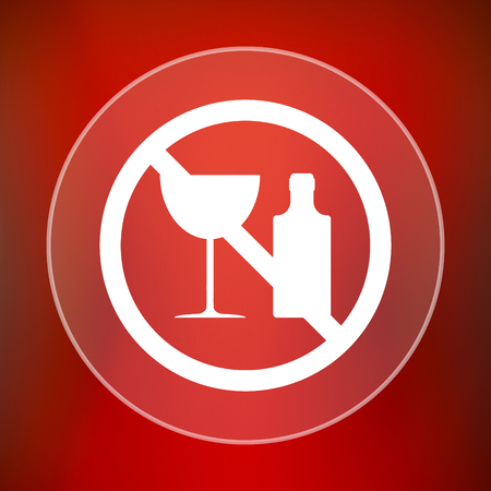 no alcohol: No alcohol icon. Internet button on red background.