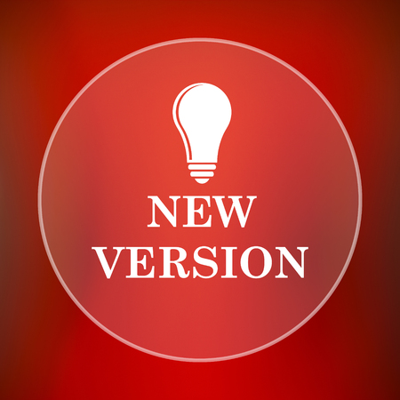 version: New version icon. Internet button on red background. Stock Photo