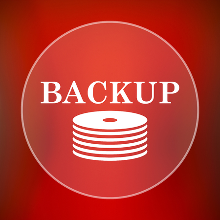 protected database: Back-up icon. Internet button on red background.