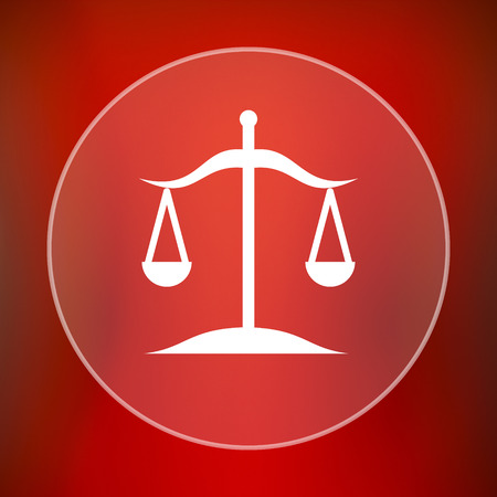 trial balance: Balance icon. Internet button on red background. Stock Photo