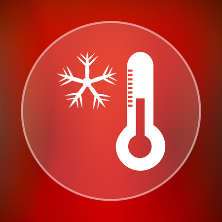 snow drifts: Snowflake with thermometer icon. Internet button on red background.