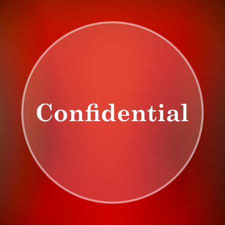 confidentiality: Confidential icon. Internet button on red background.