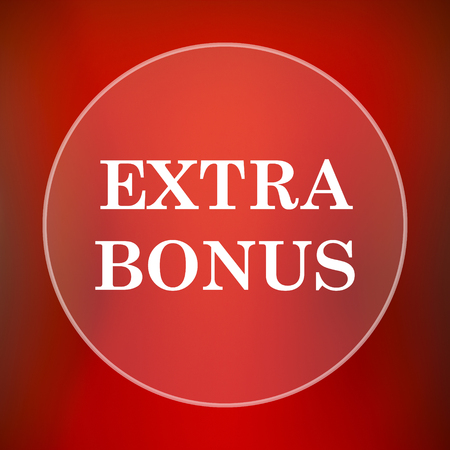 extra cash: Extra bonus icon. Internet button on red background.