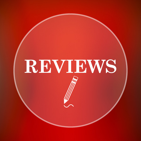 reviews: Reviews icon. Internet button on red background.