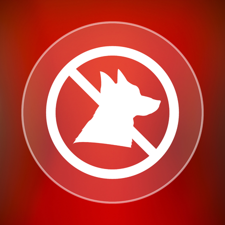 refused: Forbidden dogs icon. Internet button on red background.