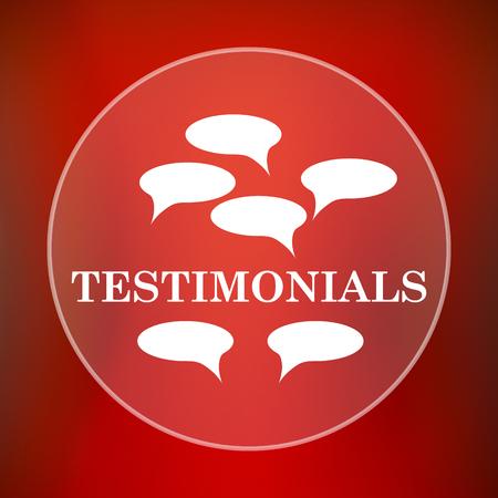 tribute: Testimonials icon. Internet button on red background. Stock Photo