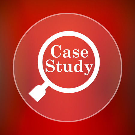 study icon: Case study icon. Internet button on red background.