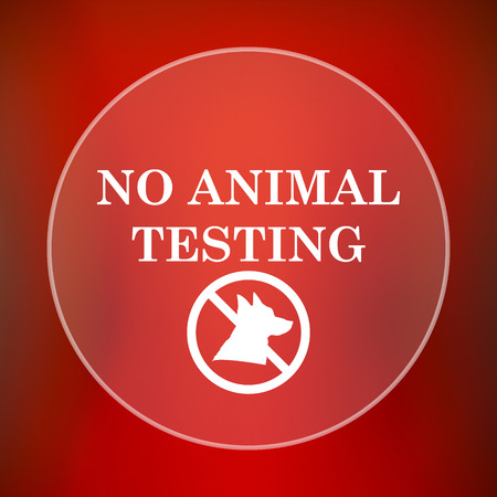 testing: No animal testing icon. Internet button on red background.