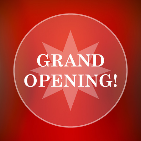 inauguration: Grand opening icon. Internet button on red background.